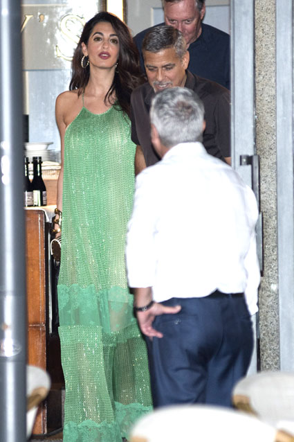 Amal Clooney stuns in sparkling green gown during date night