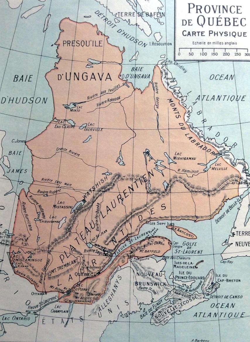Carte des Frères maristes datant de 1926 délimitant le Québec et la côte du Labrador. (par Henri Lessard...