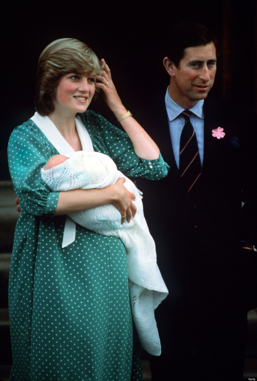 The Prince and Princess of Wales with their newborn son Prince William on the steps of St Mary's Hospital,...
