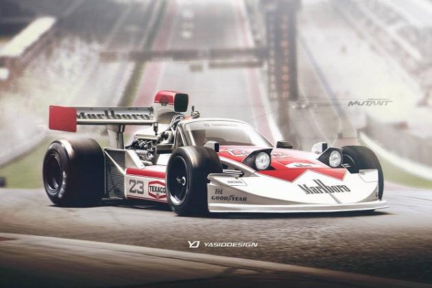 英国のデザイン会社が、初代マツダ「ロードスター」と1970年代のF1マシンをミックスさせた画像を制作