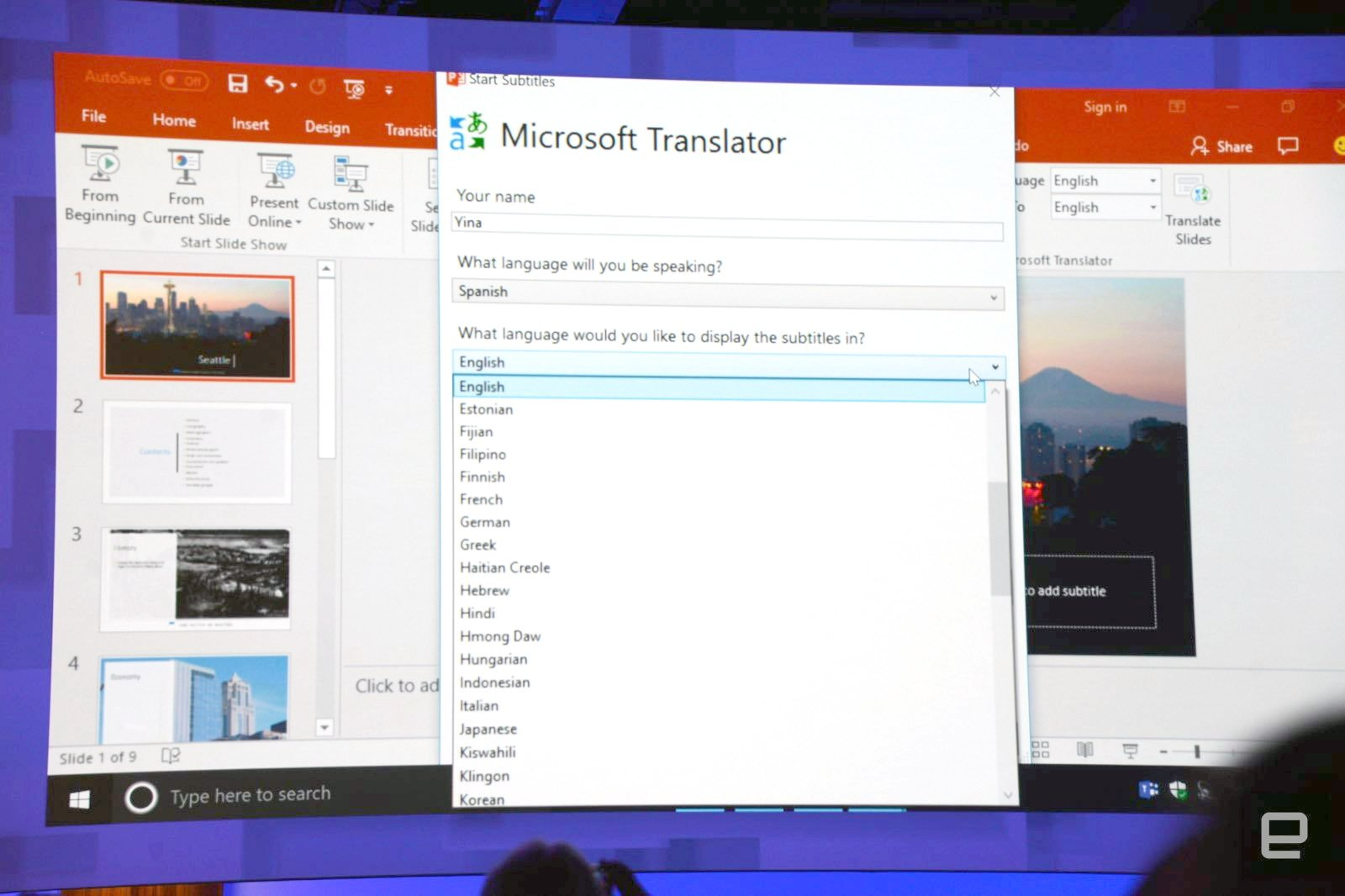 microsoft powerpoint adds real time presentation translation