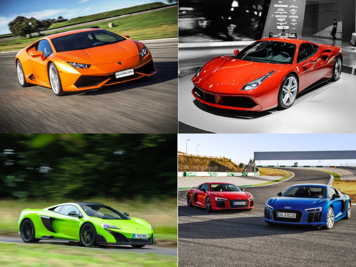 The Lamborghini Huracan, Ferrari's 488 GTB, the McLaren 675LT, and Audi's R8 V10 Plus
