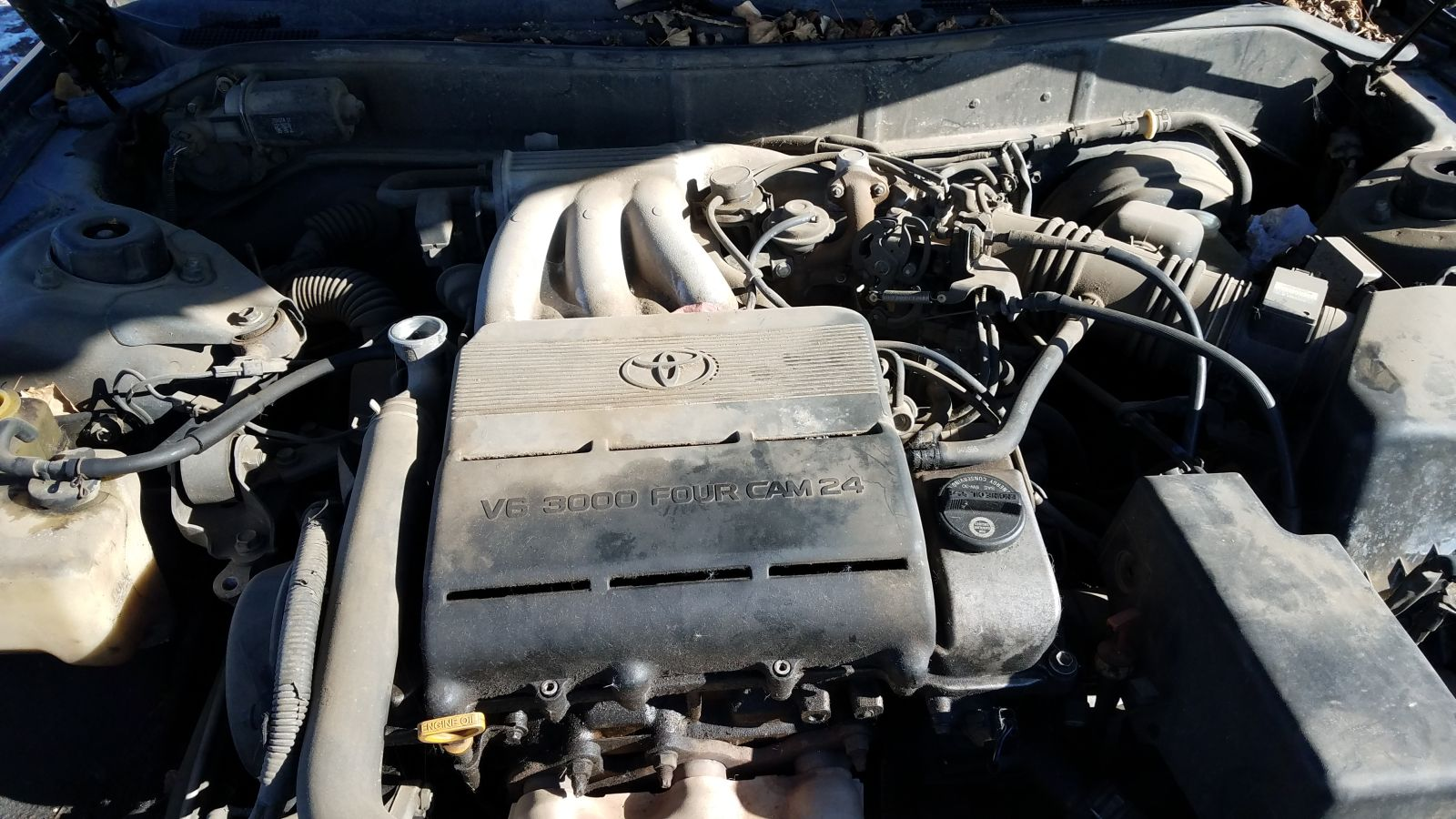The base engine in the '96 Camry was a 2.2-liter DOHC four rated at 125  horsepower. This car has the optional 3-liter V6 engine, good for 188  horses.