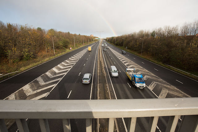 The bridge over the A1 in East Denton, Newcastle, where a 28-year-old man allegedly tried to push an on-duty police officer off onto the road.
