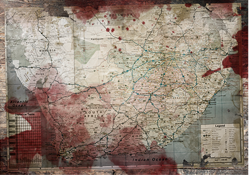 A map of South Africa seemingly soaked in blood. This image appears on a promotional website for Ernst...
