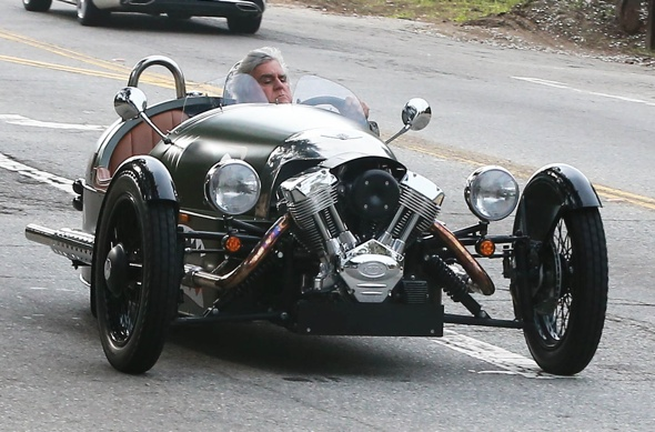 Jay Leno takes British fighter plane-inspired car for a spin