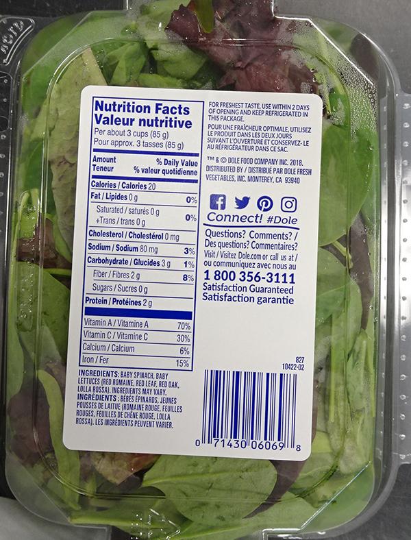 Rappel de certains mélanges de salade de marque Dole en raison de la bactérie Listeria