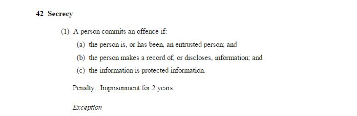 """The 'Secrecy' clause of the Border Force Act stipulates 2 years' imprisonment for """"entrusted persons""""..."""