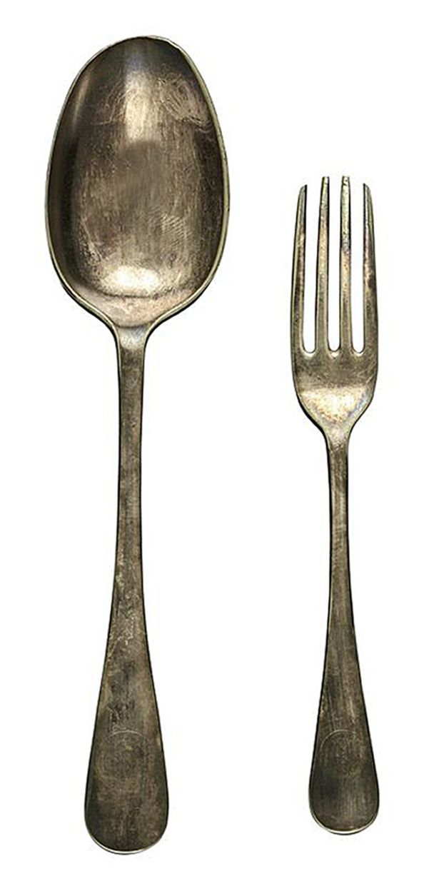 A silver spoon and fork from the same expedition are also up for auction