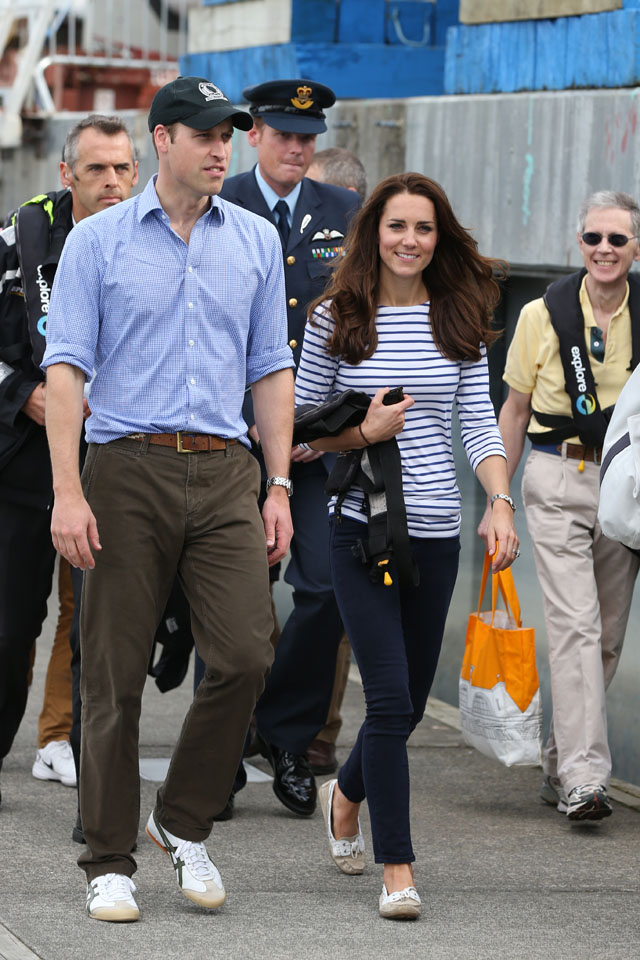 AUCKLAND, NEW ZEALAND - APRIL 11:  Prince William, Duke of Cambridge and Catherine, Duchess of Cambridge return from sailing where the Duchess and her crew beat Prince William and his crew onTeam New Zealand's yachts at the Viaduct Basin on April 11, 2014 in Auckland, New Zealand. The Duke and Duchess of Cambridge are on a three-week tour of Australia and New Zealand, the first official trip overseas with their son, Prince George of Cambridge.  (Photo by Fiona Goodall-Pool/Getty Images)