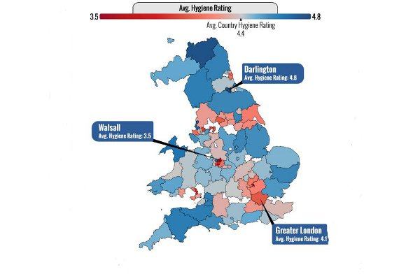 Map showing the best and worst areas for food hygiene.