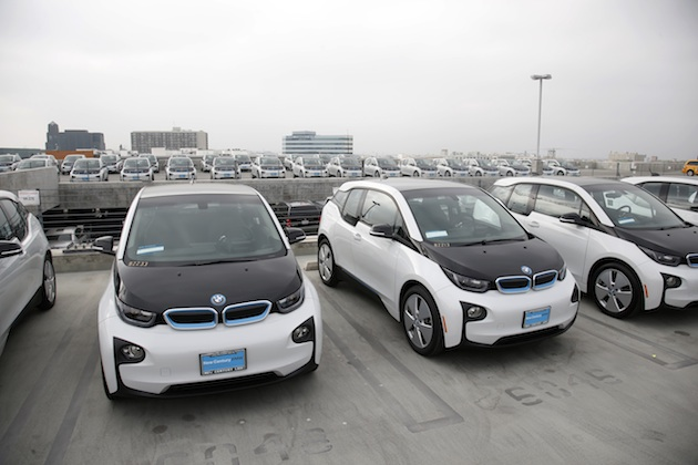 Los Angeles Police Department's newly unveiled transportation fleet of 100 fully-electric BMW i3 vehicles are seen in Los Angeles, Calif. on Wednesday, June 8, 2016. Photo by Danny Moloshok/Newscast US