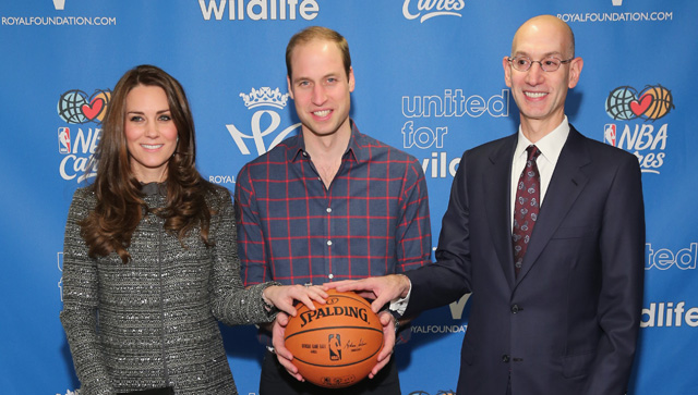 NEW YORK, NY - DECEMBER 08:  Prince William, Duke of Cambridge (C) and Catherine, Duchess of Cambridge (2nd L) pose with NBA Commissioner Adam Silver (R) as they attend the Cleveland Cavaliers vs. Brooklyn Nets game at Barclays Center on December 8, 2014 in the Brooklyn borough of New York City. Prince William, Duke of Cambridge and Catherine, Duchess of are on their official two-day visit to the United States.  (Photo by Neilson Barnard/Getty Images)