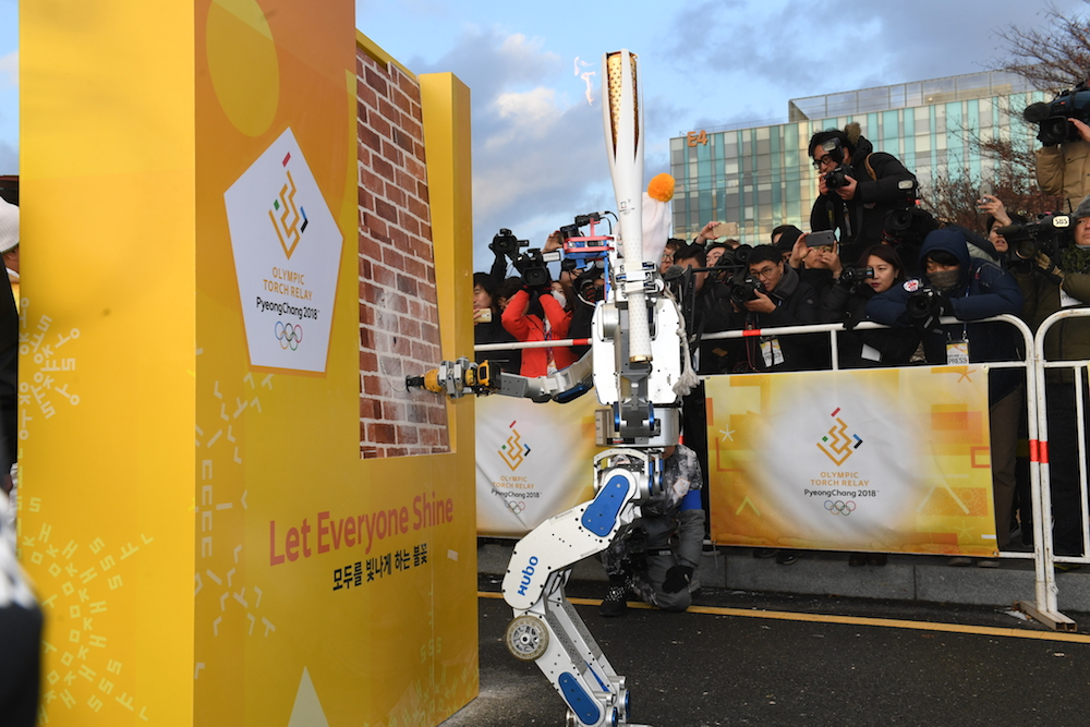 A robot carried the Olympic torch in South Korea