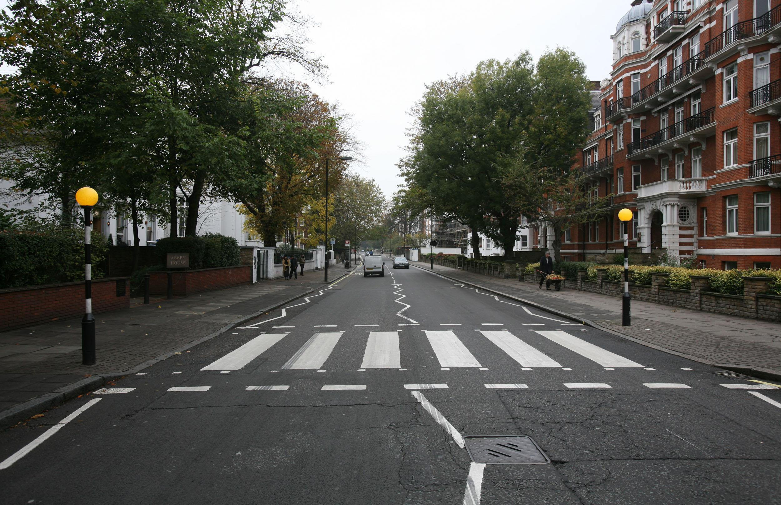 The pedestrian crossing outside the Abbey Road Studios in London, made famous by the Beatles.