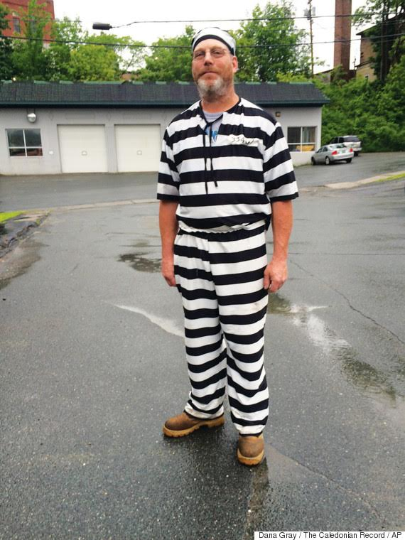James Lowe was released from jury duty Tuesday after he showed up wearing a black and white striped jumpsuit.