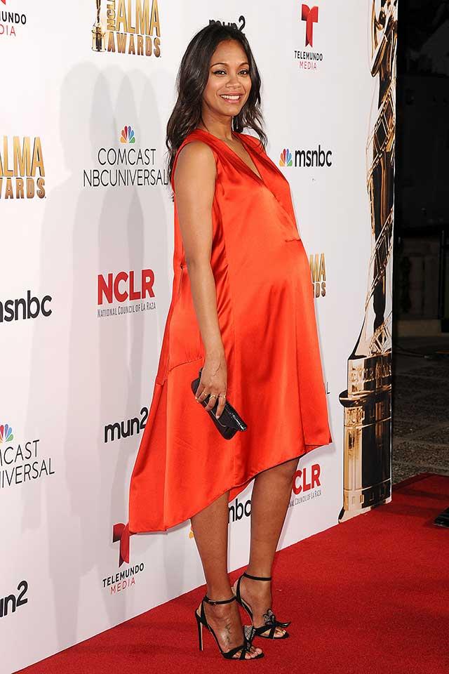 Zoe Saldana Shows Off Her Growing Baby Bump At The Alma