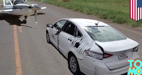 Plane hits car after emergency landing on highway (video)