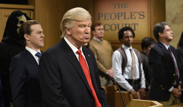 "SATURDAY NIGHT LIVE -- ""Alec Baldwin"" Episode 1718 -- Pictured: (l-r) Alex Moffat as Eric Trump, host Alec Baldwin as President Donald Trump during the ""Trump People's Court"" sketch on February 11, 2017 -- (Photo by: Will Heath/NBC)"