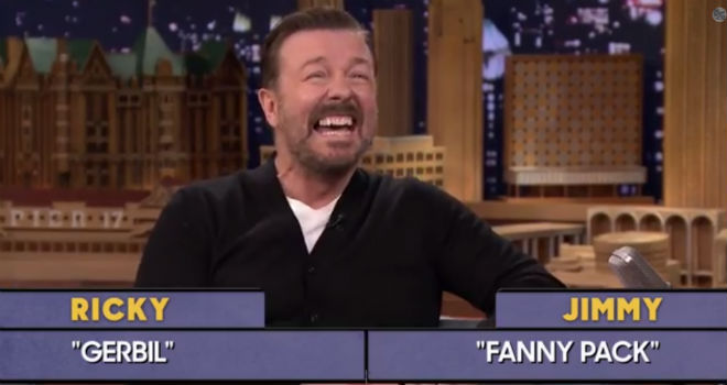 ricky gervais word sneak tonight show jimmy fallon