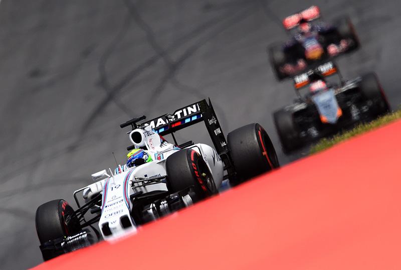 Felipe Massa drives in the 2015 Austrian F1 Grand Prix.
