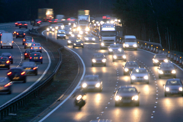 File photo dated 15/02/07 of cars on the motorway, as an RAC survey has shown that drivers are being temporarily blinded by modern vehicle headlights.