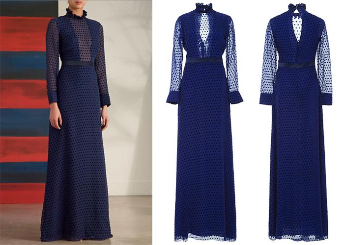 Kate Middleton navy blue polka dotted Saloni dress