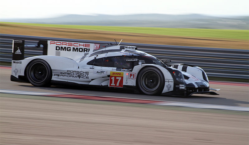The Porsche 919 Hybrid races at the 2015 Lone Star Le Mans.
