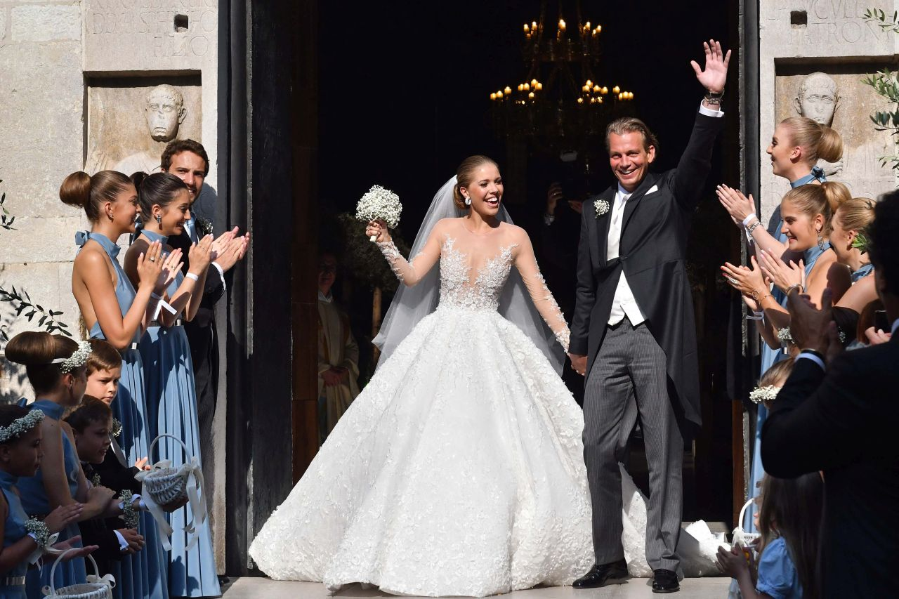 The wedding of Victoria Swarovski at the San Giusto church in Trieste. Sylvie was amongst many guests at the lavish wedding which see Austrian singer Victoria Swarovski wed Werner Muerz<P>Pictured: Victoria Swarovski and Werner Muerz<B>Ref: SPL1521549  160617  </B><BR/>Picture by: Petrussi Foto / Splash News<BR/></P><P><B>Splash News and Pictures</B><BR/>Los Angeles: 310-821-2666<BR/>New York: 212-619-2666<BR/>London: 870-934-2666<BR/>photodesk@splashnews.com<BR/></P>