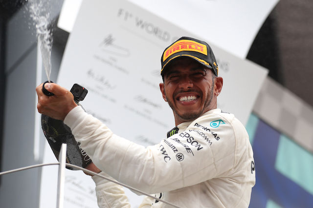 Lewis Hamilton celebrates his victory during the 2017 British Grand Prix at Silverstone Circuit, Towcester.