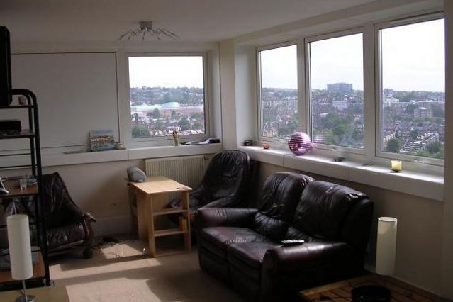 The living room of the flat