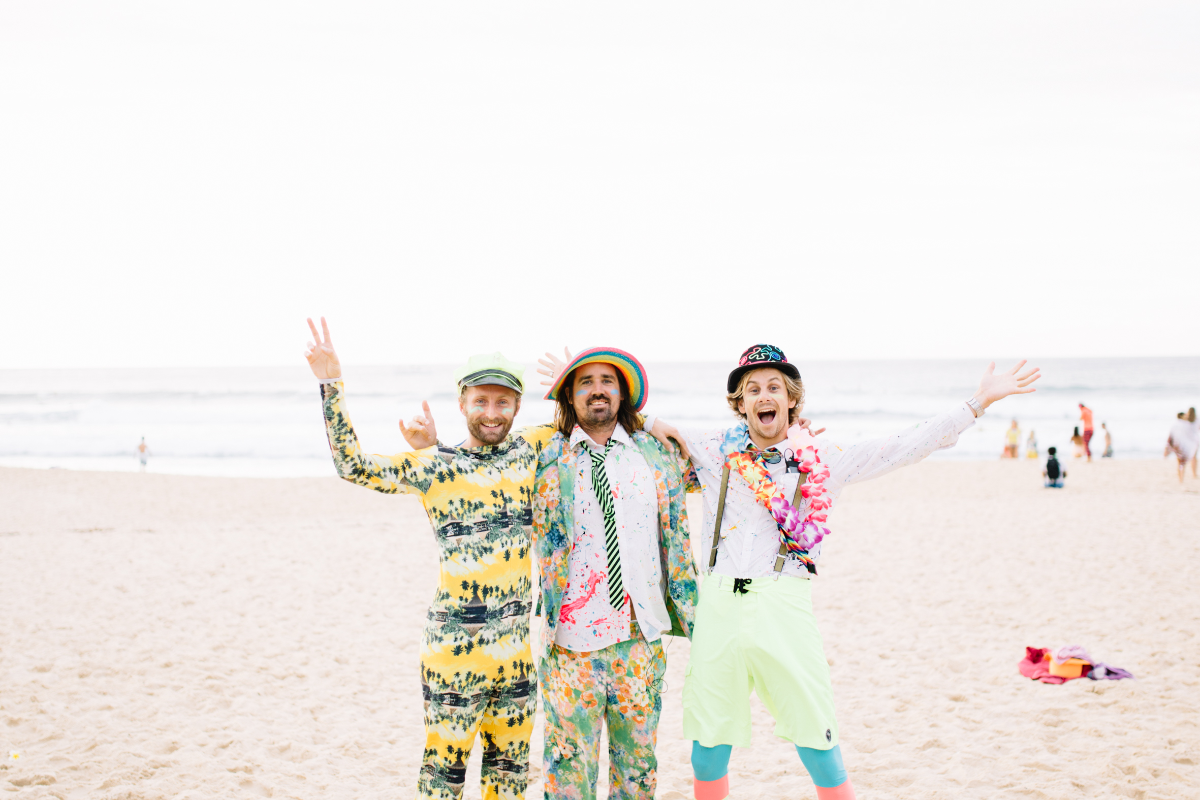Left to right: Co-founder Sam Schumacher, Founder Grant Trebilco, OneWave Surfing Experience Manager...