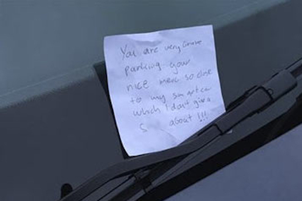 Smart Driver Leaves Hilarious Note On Closely Parked Merc Aol