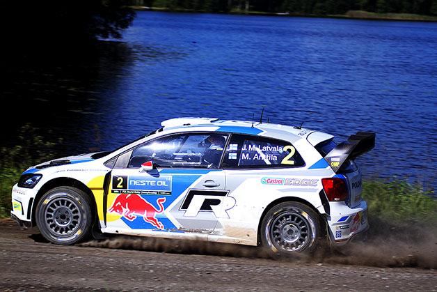 Volkswagen pilot Jari-Matti Latvala drives in the Neste Oil Rally Finland.
