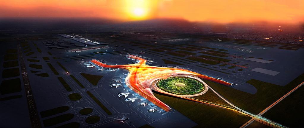 El nuevo aeropuerto diseñado por Norman Foster en la Ciudad de México, visto aquí en una representación...