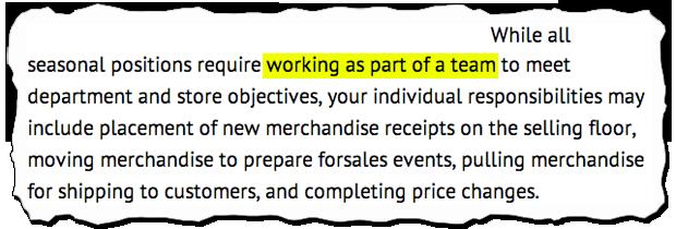 Job Descriptions Decoded Macy S Seasonal Employee Aol