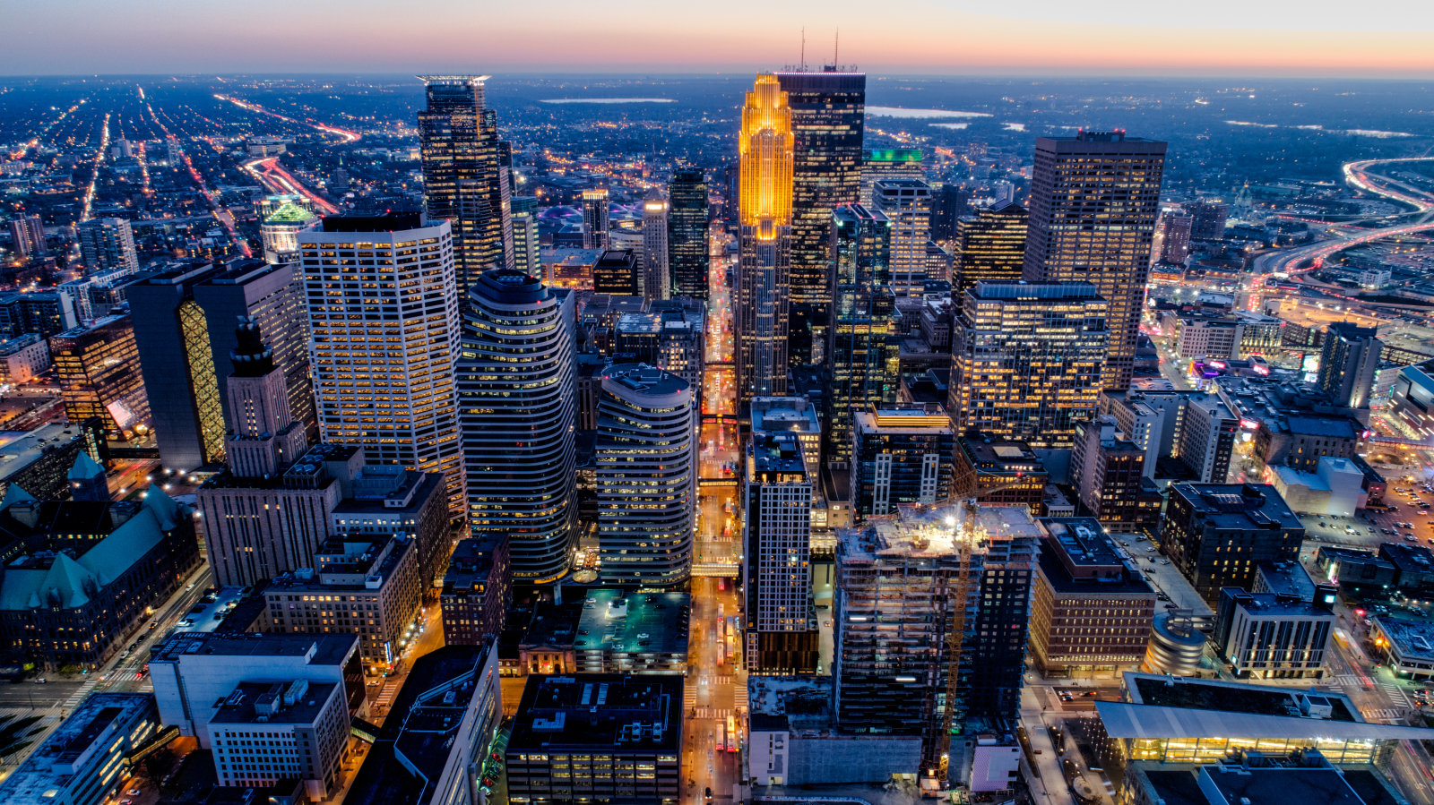 Aerial of Downtown Minneapolis at Sunset