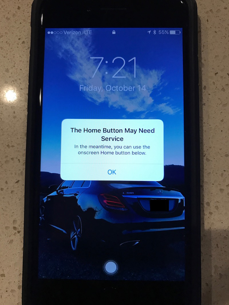 The iPhone 7's home button failure warning
