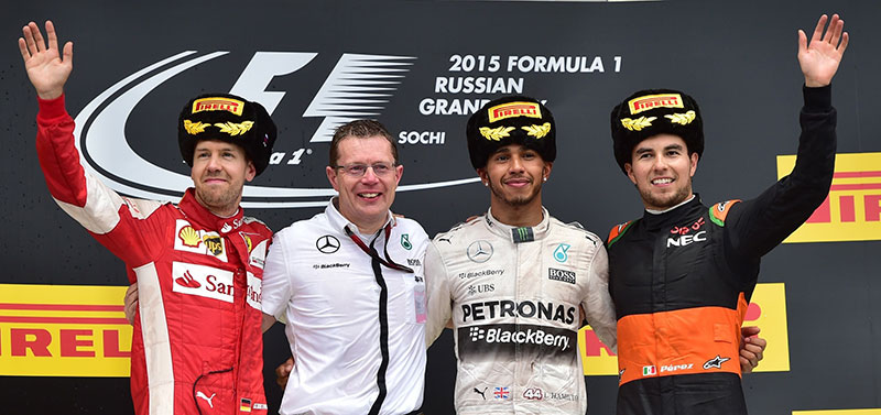 The podium at the 2015 Russian Grand Prix.
