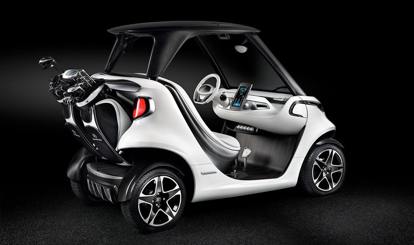 Mercedes benz made a high tech golf cart inspired by for Mercedes benz sports cars