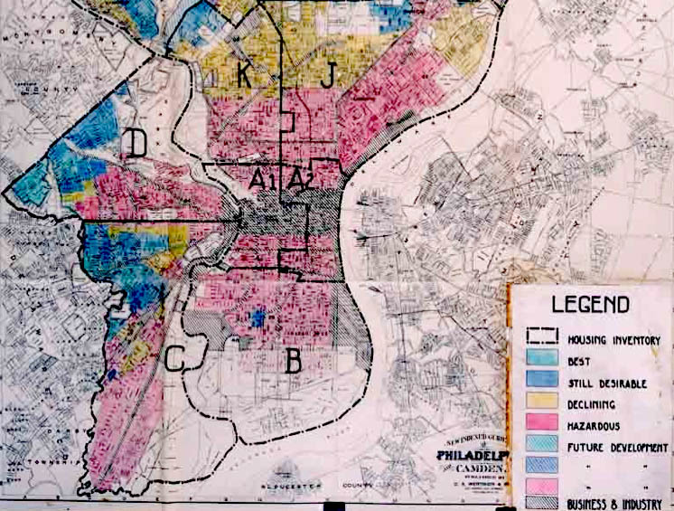 A HOLC 1936 security map of Philadelphia showing redlining of lower income neighborhoods.