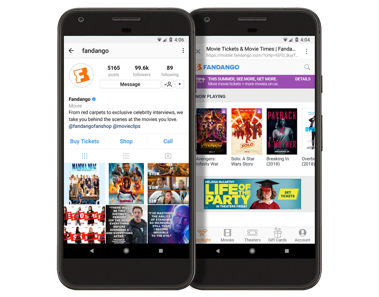 Today, Fandango announced that people can purchase movie tickets through  Instagram, thanks to a