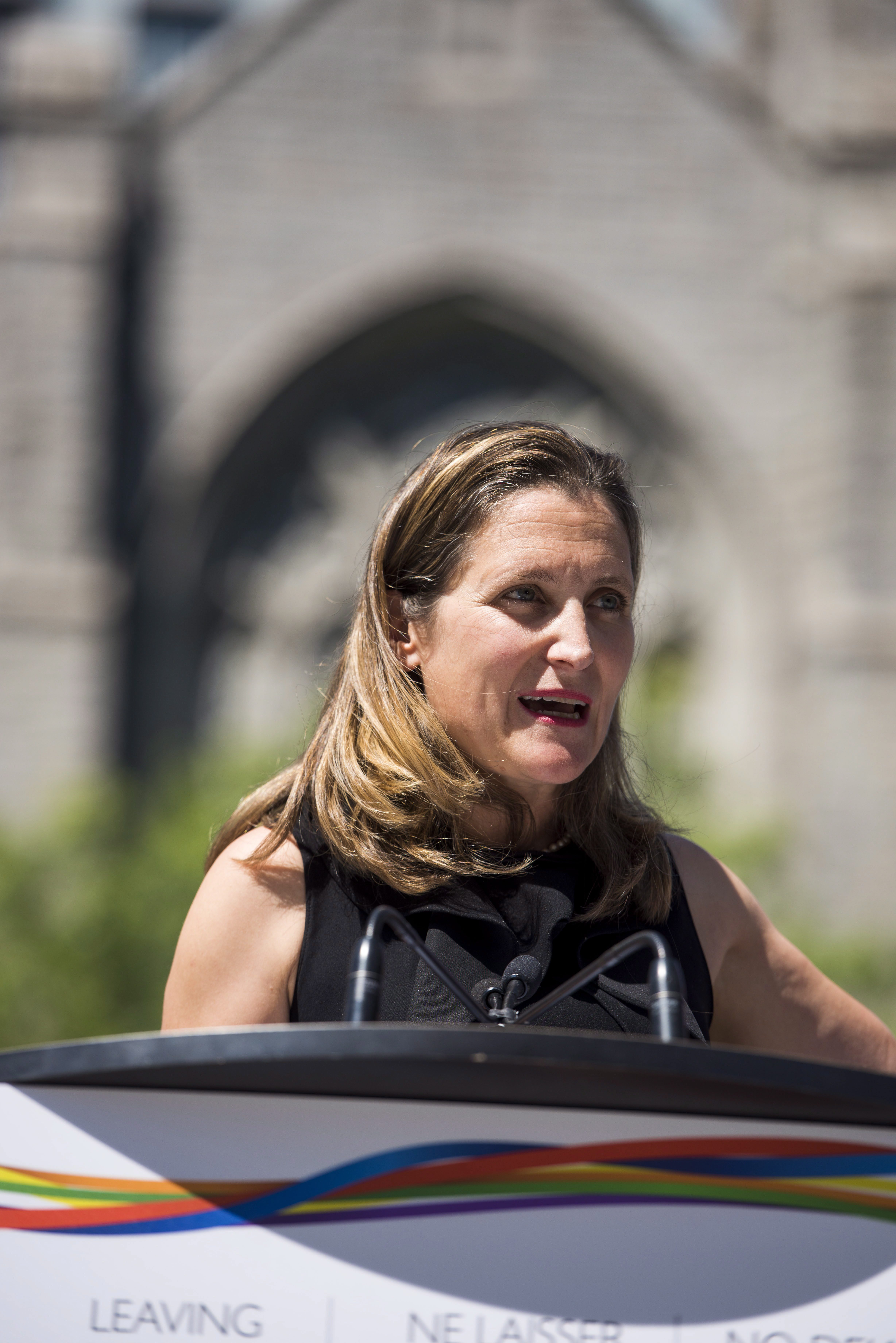 Foreign Affairs Minister Chrystia Freeland speaks at a press conference in Vancouver, B.C. on