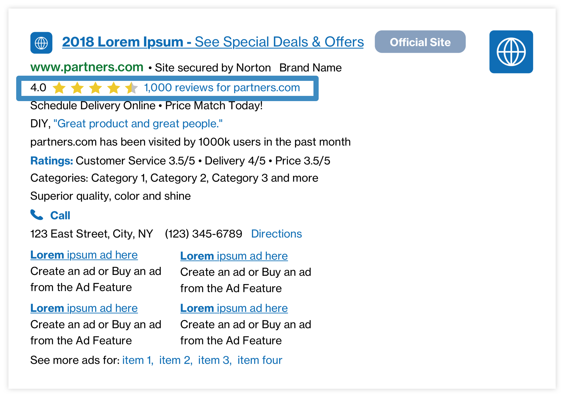 Example of how merchant ratings display in Yahoo search results