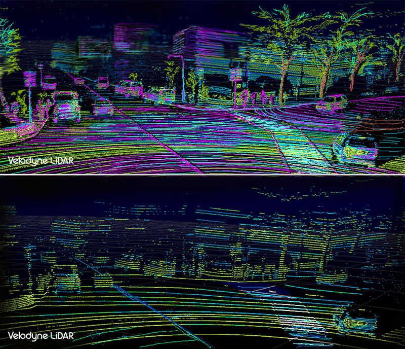 A comparison of machine vision between the Velodyne VLS-128 LIDAR array, top, and the Velodyne HDL-64, below.