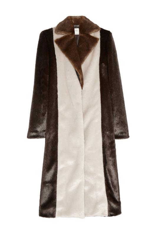 Edun color-block faux-fur coat