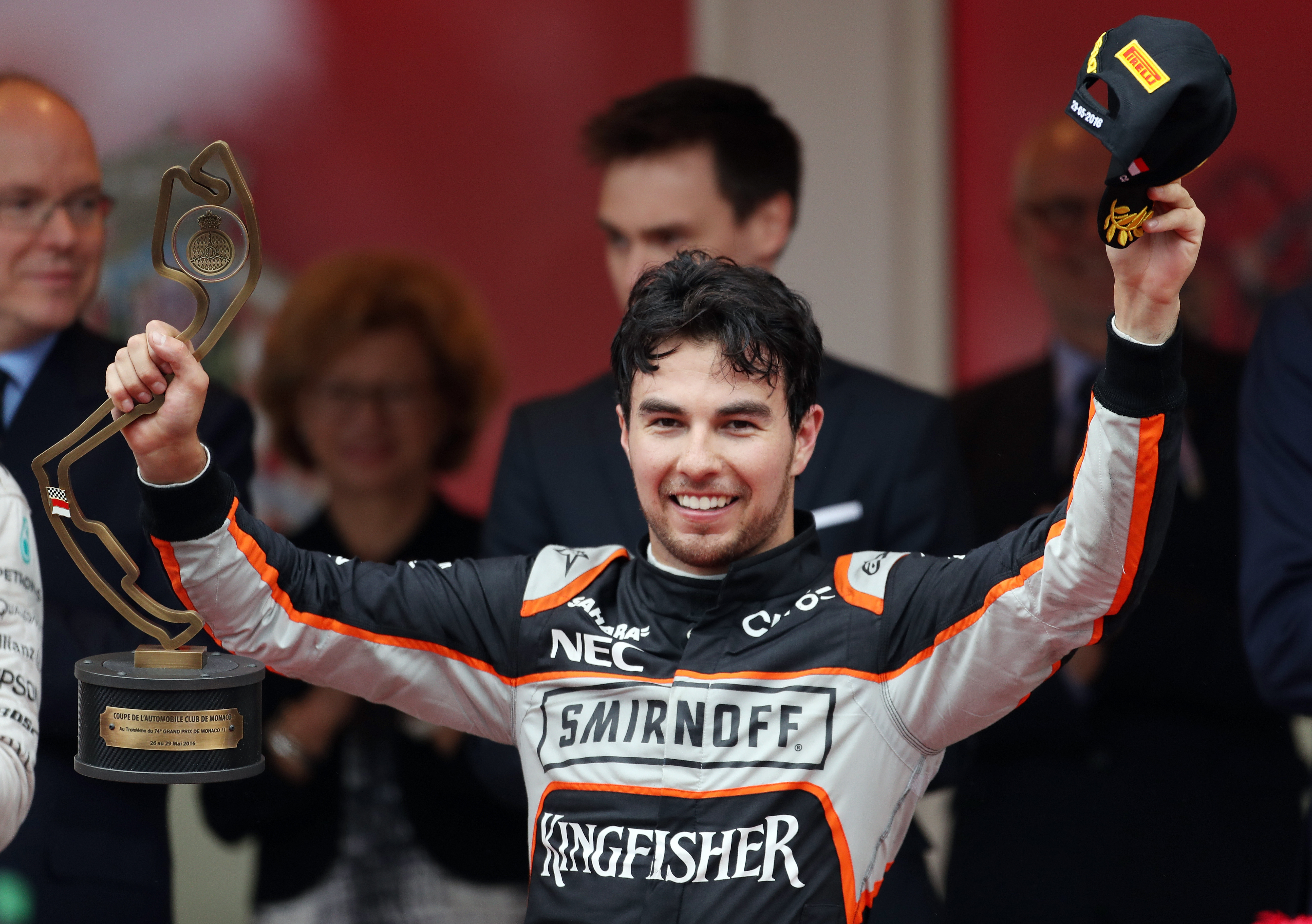 Force India's Sergio Perez celebrates third place in the 2016 Monaco Grand Prix at the Circuit de Monaco, Monaco.