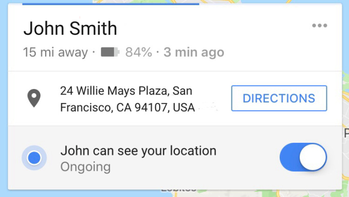 Shared locations on Google Maps now include battery life
