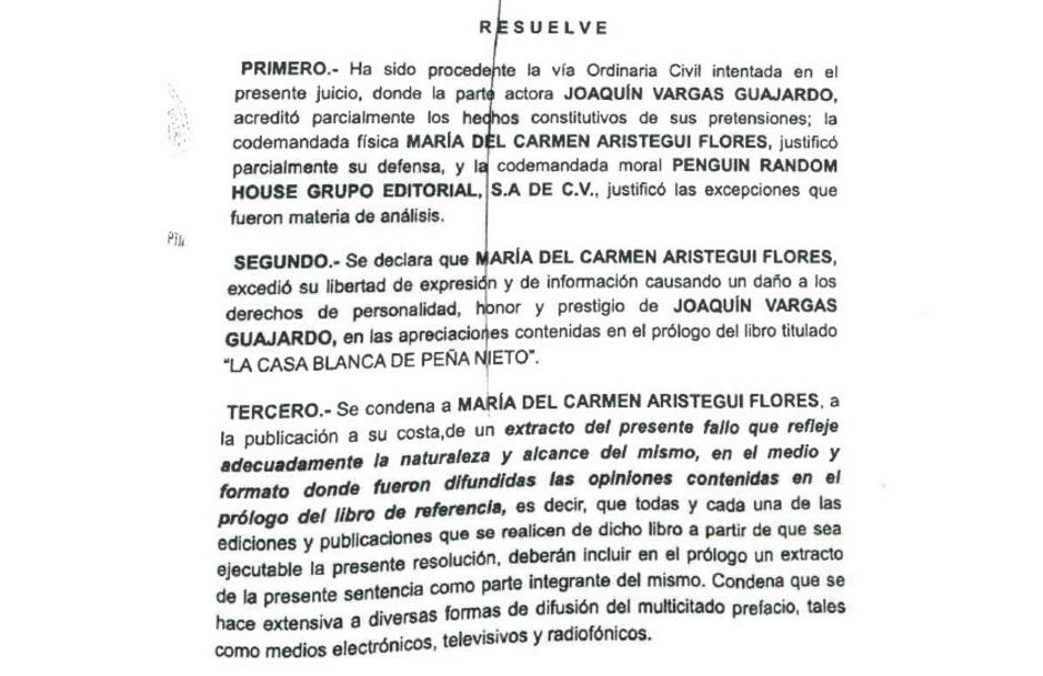 Juez condena a Aristegui por 'exceder' su libertad de