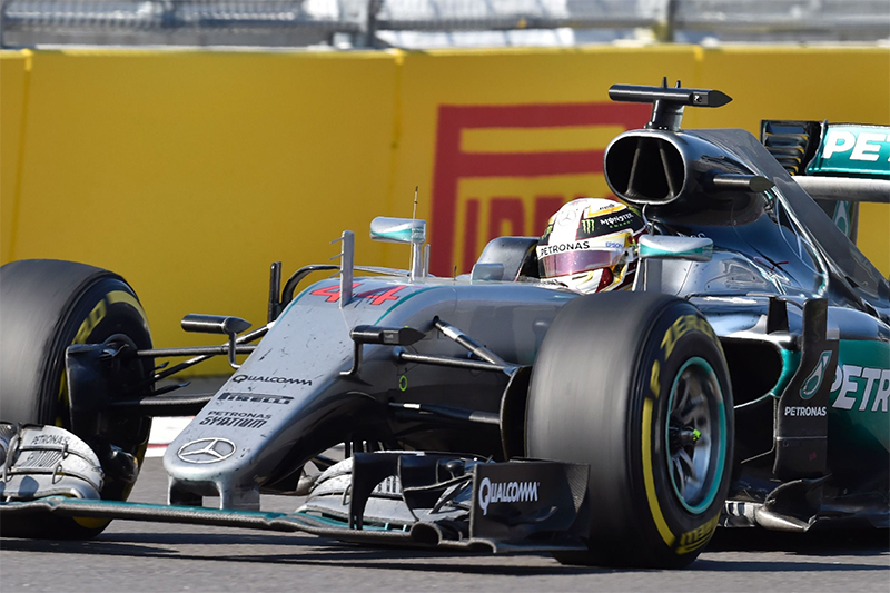 Mercedes AMG Petronas F1 Team's British driver Lewis Hamilton steers his car during the Formula One Russian Grand Prix at the Sochi Autodrom circuit on May 1, 2016.